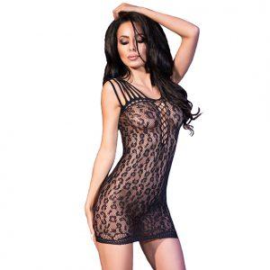 Zwart panter mini jurkje - CR4101 - Kinky jurkjes - Naadloze jurkjes