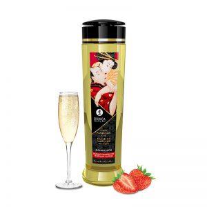 Shunga Massage Olie Aardbeien Champagne | Desireshop.nl