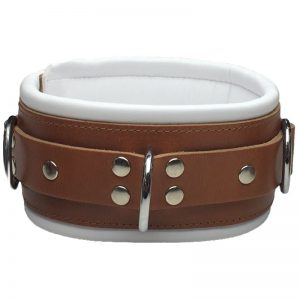 Halsband Breed Bruin Wit Kopen | Desireshop.nl | BDSM Shop