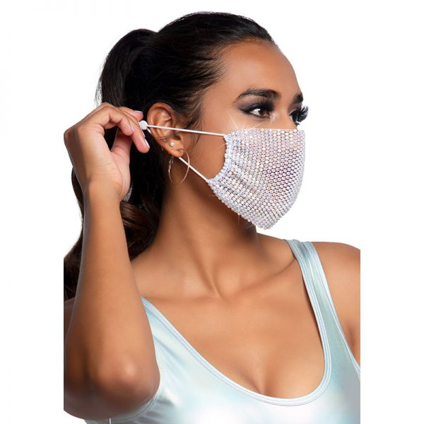 Harlow Rhinest Face Mask Cover White | Desireshop.nl | Alkmaar